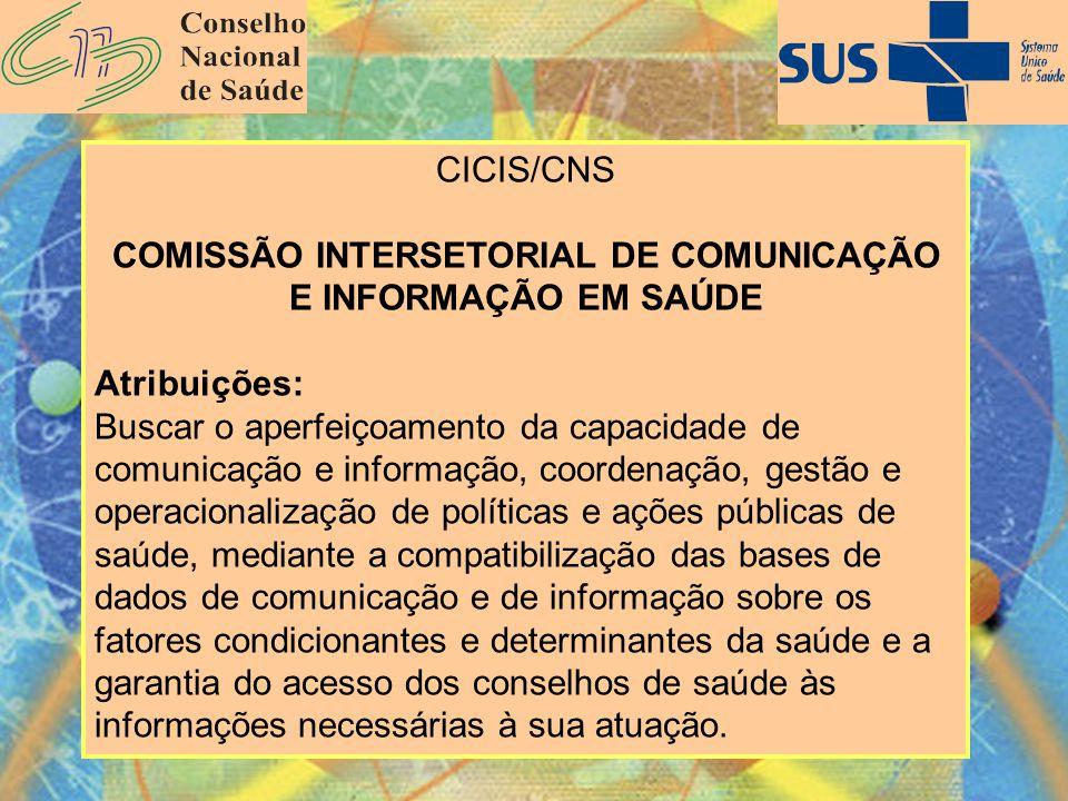 CICIS/CNS COMISSÃO INTERSETORIAL DE COMUNICAÇÃO E INFORMAÇÃO EM SAÚDE Atribuições: Buscar o aperfeiçoamento da capacidade de comunicação e informação,