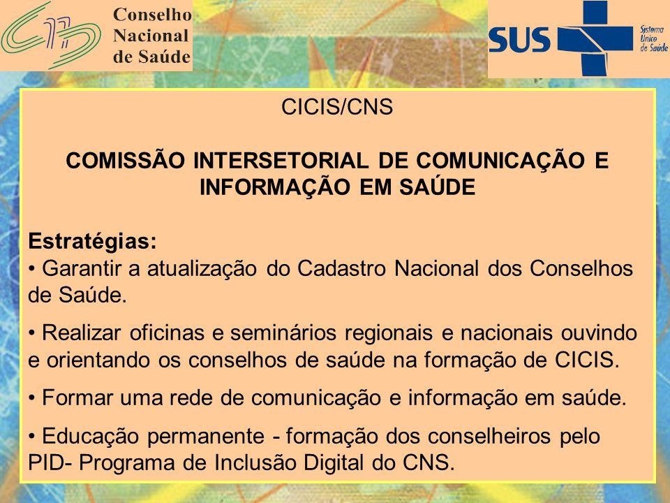 CICIS/CNS COMISSÃO INTERSETORIAL DE COMUNICAÇÃO E INFORMAÇÃO EM SAÚDE Estratégias: Garantir a atualização do Cadastro Nacional dos Conselhos de Saúde.