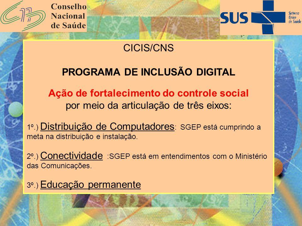CICIS/CNS PROGRAMA DE INCLUSÃO DIGITAL Ação de fortalecimento do controle social por meio da articulação de três eixos: 1º.) Distribuição de Computado