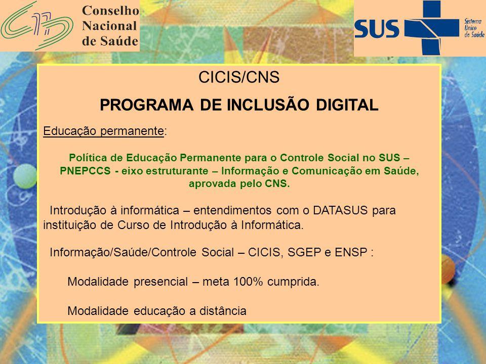 CICIS/CNS PROGRAMA DE INCLUSÃO DIGITAL Educação permanente: Política de Educação Permanente para o Controle Social no SUS – PNEPCCS - eixo estruturant