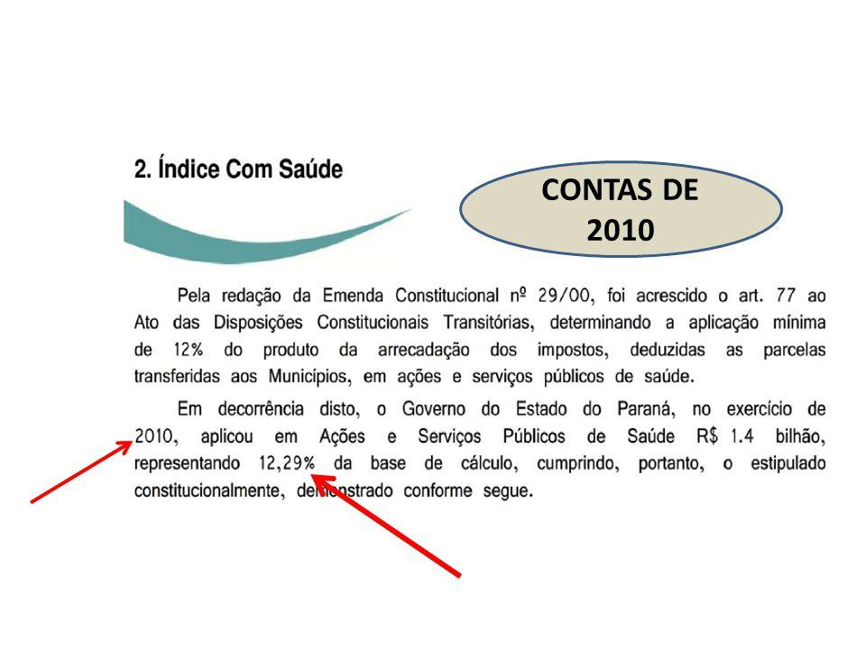 CONTAS DE 2010