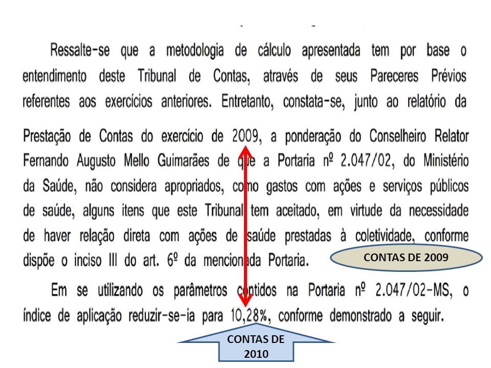 CONTAS DE 2009 CONTAS DE 2010