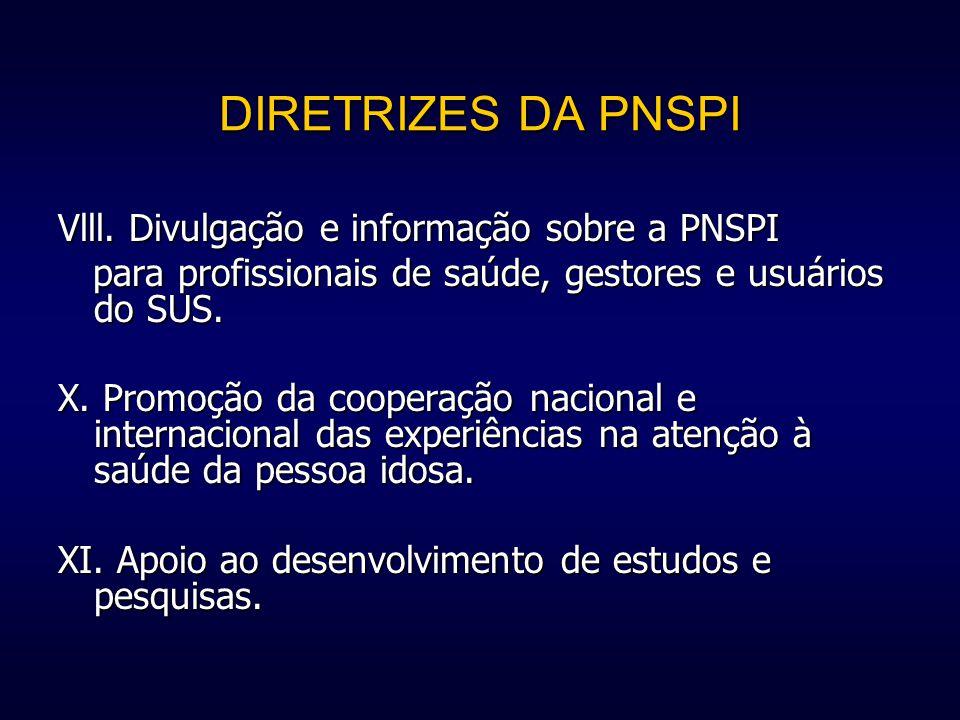 DIRETRIZES DA PNSPI Vlll. Divulgação e informação sobre a PNSPI para profissionais de saúde, gestores e usuários do SUS. para profissionais de saúde,