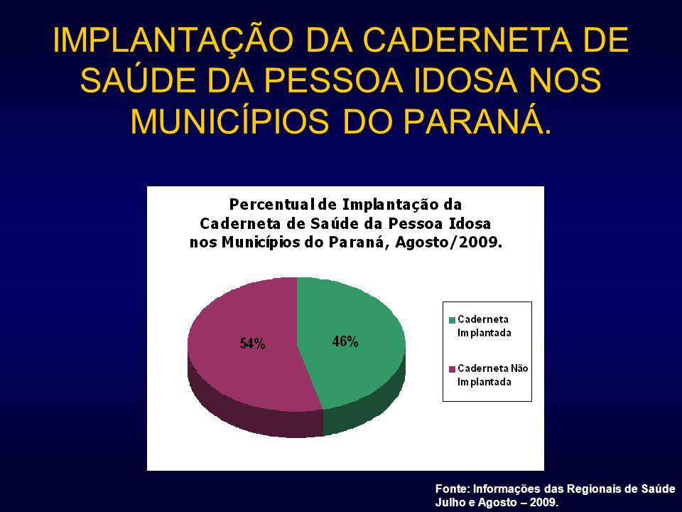 IMPLANTAÇÃO DA CADERNETA DE SAÚDE DA PESSOA IDOSA NOS MUNICÍPIOS DO PARANÁ. Fonte: Informações das Regionais de Saúde Julho e Agosto – 2009.