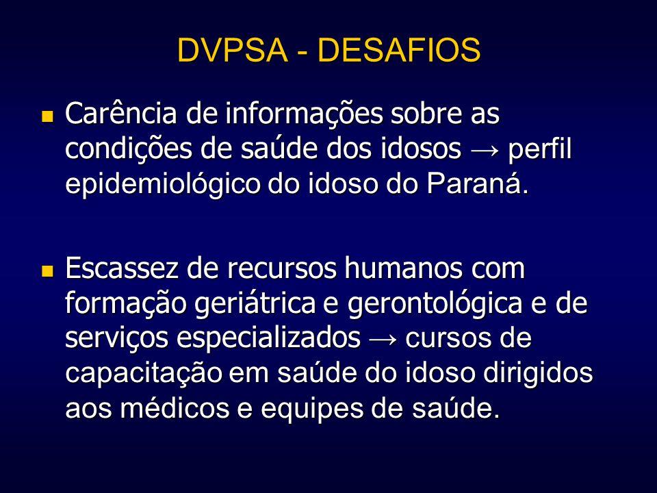 DVPSA - DESAFIOS Carência de informações sobre as condições de saúde dos idosos perfil epidemiológico do idoso do Paraná. Carência de informações sobr
