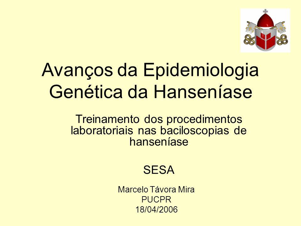 Avanços da Epidemiologia Genética da Hanseníase Marcelo Távora Mira PUCPR 18/04/2006 Treinamento dos procedimentos laboratoriais nas baciloscopias de hanseníase SESA