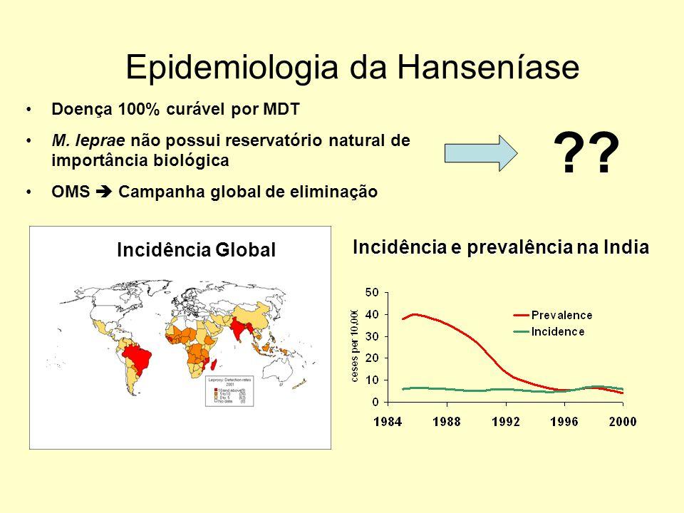 Epidemiologia da Hanseníase Incidência e prevalência na India Incidência Global Doença 100% curável por MDT M. leprae não possui reservatório natural