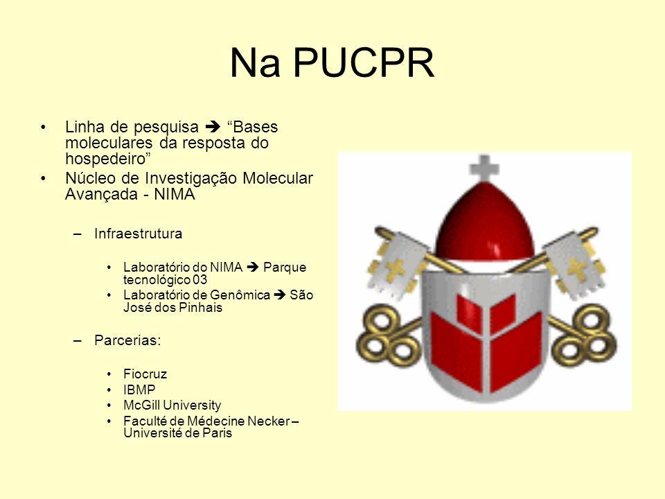 Na PUCPR Linha de pesquisa Bases moleculares da resposta do hospedeiro Núcleo de Investigação Molecular Avançada - NIMA –Infraestrutura Laboratório do