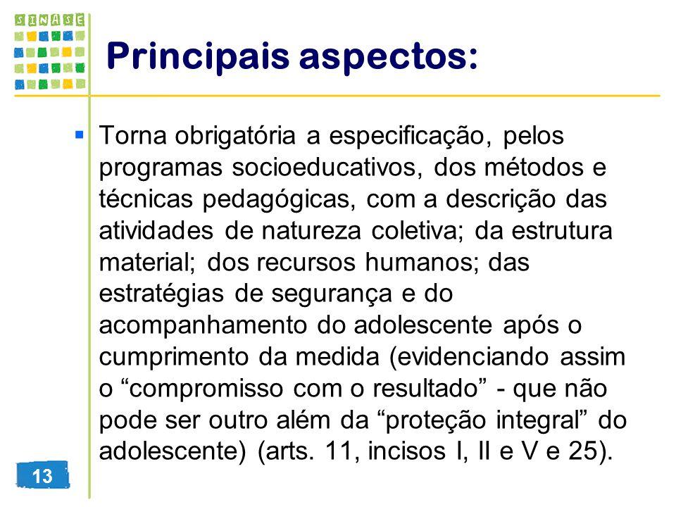 Principais aspectos: Torna obrigatória a especificação, pelos programas socioeducativos, dos métodos e técnicas pedagógicas, com a descrição das ativi