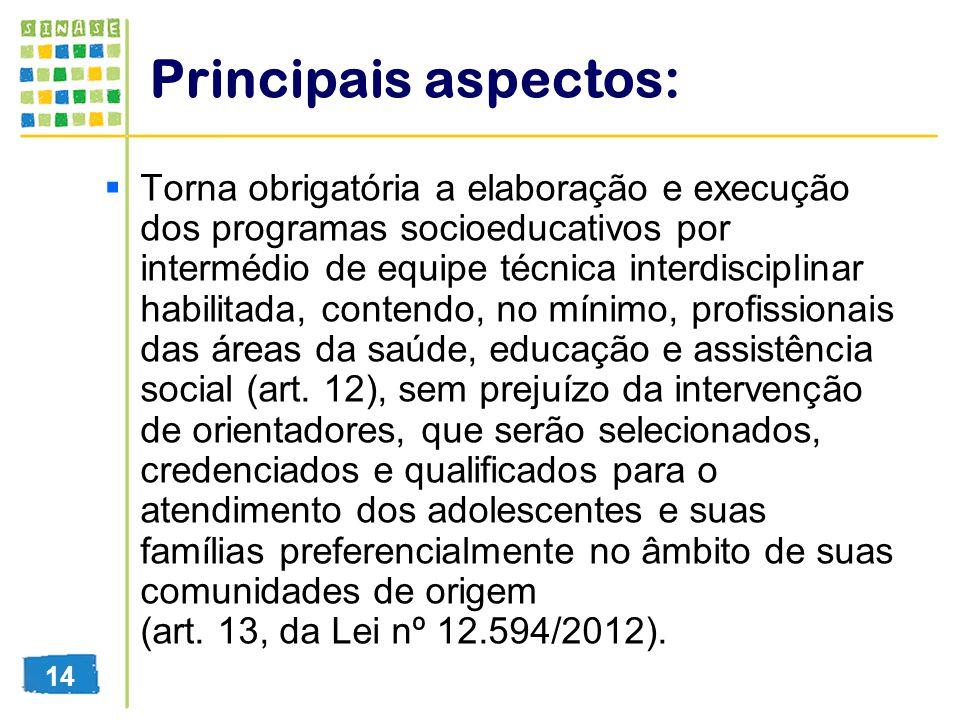 Principais aspectos: Torna obrigatória a elaboração e execução dos programas socioeducativos por intermédio de equipe técnica interdisciplinar habilit