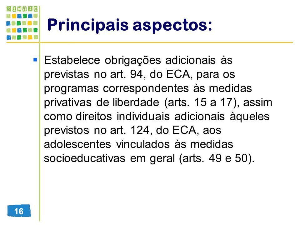 Principais aspectos: Estabelece obrigações adicionais às previstas no art. 94, do ECA, para os programas correspondentes às medidas privativas de libe