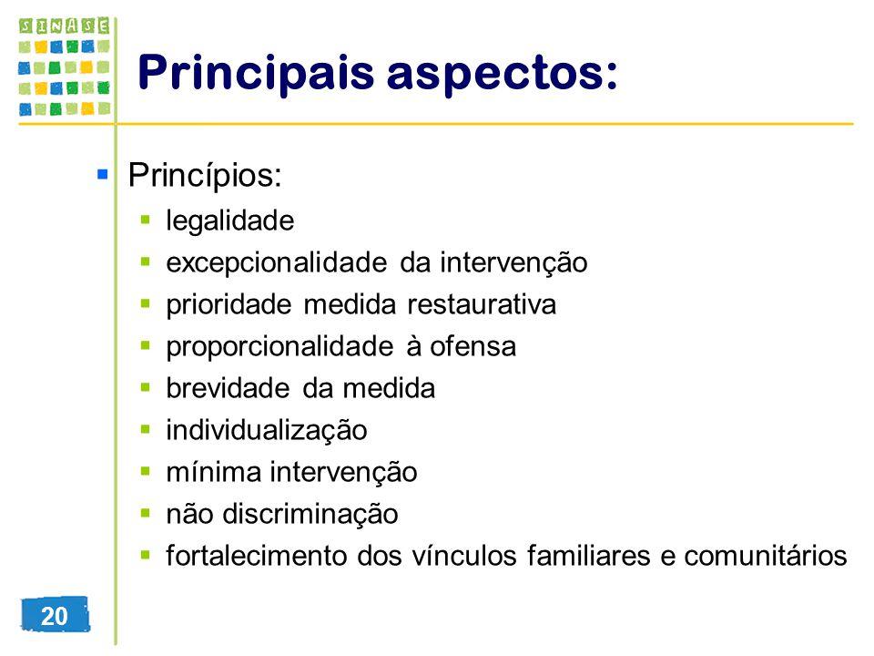 Principais aspectos: Princípios: legalidade excepcionalidade da intervenção prioridade medida restaurativa proporcionalidade à ofensa brevidade da med