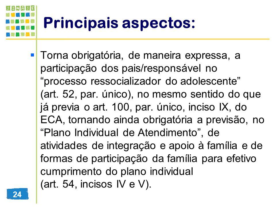 Principais aspectos: Torna obrigatória, de maneira expressa, a participação dos pais/responsável no processo ressocializador do adolescente (art. 52,