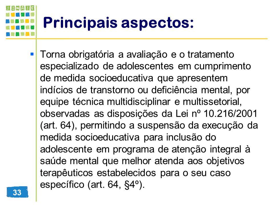 Principais aspectos: Torna obrigatória a avaliação e o tratamento especializado de adolescentes em cumprimento de medida socioeducativa que apresentem