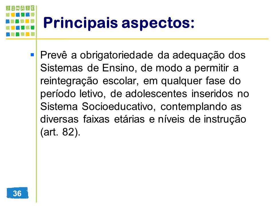 Principais aspectos: Prevê a obrigatoriedade da adequação dos Sistemas de Ensino, de modo a permitir a reintegração escolar, em qualquer fase do perío