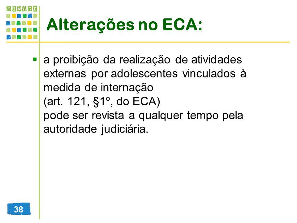 Alterações no ECA: a proibição da realização de atividades externas por adolescentes vinculados à medida de internação (art. 121, §1º, do ECA) pode se