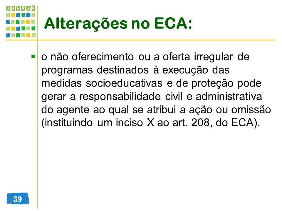 Alterações no ECA: o não oferecimento ou a oferta irregular de programas destinados à execução das medidas socioeducativas e de proteção pode gerar a