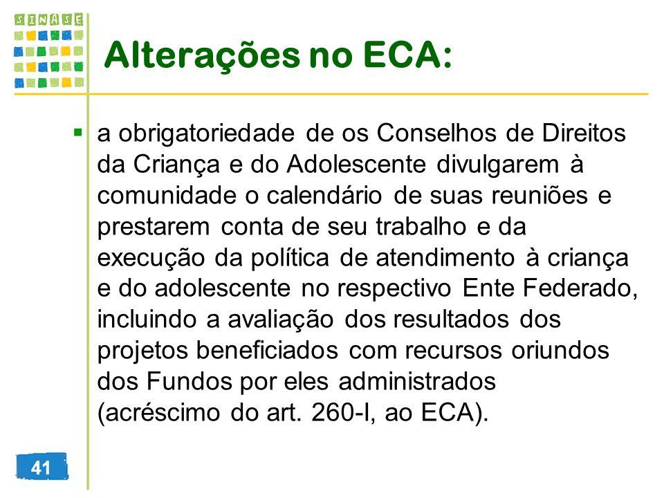 Alterações no ECA: a obrigatoriedade de os Conselhos de Direitos da Criança e do Adolescente divulgarem à comunidade o calendário de suas reuniões e p