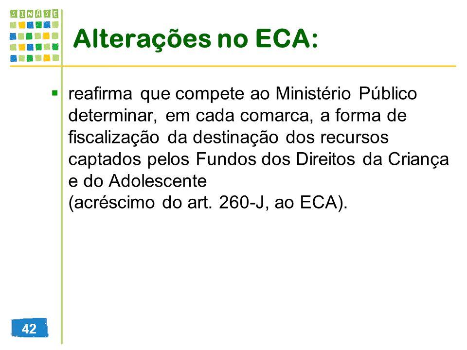 Alterações no ECA: reafirma que compete ao Ministério Público determinar, em cada comarca, a forma de fiscalização da destinação dos recursos captados