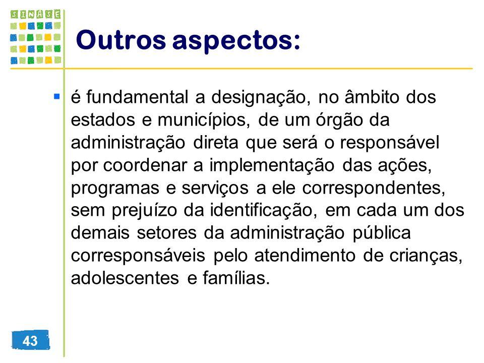 Outros aspectos: é fundamental a designação, no âmbito dos estados e municípios, de um órgão da administração direta que será o responsável por coorde