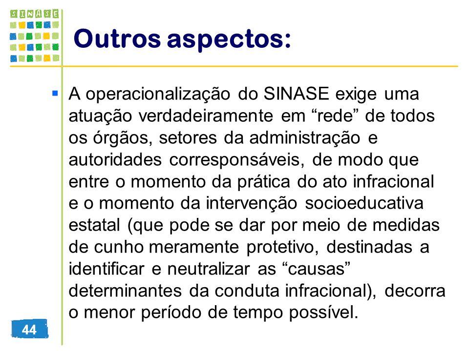 Outros aspectos: A operacionalização do SINASE exige uma atuação verdadeiramente em rede de todos os órgãos, setores da administração e autoridades co