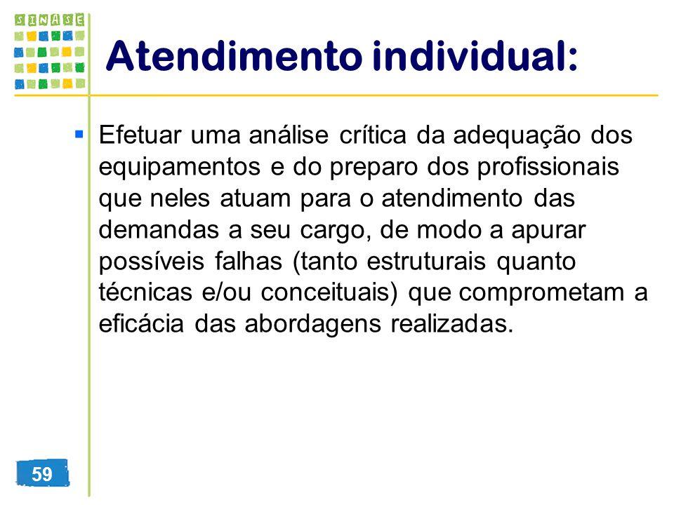 Atendimento individual: Efetuar uma análise crítica da adequação dos equipamentos e do preparo dos profissionais que neles atuam para o atendimento da