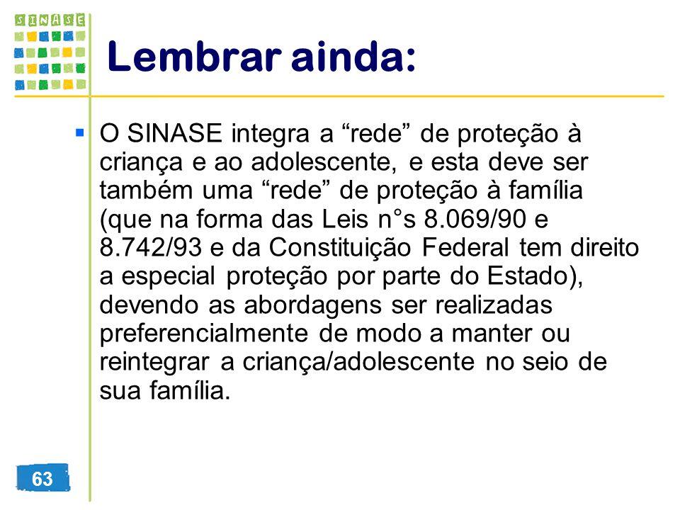 Lembrar ainda: O SINASE integra a rede de proteção à criança e ao adolescente, e esta deve ser também uma rede de proteção à família (que na forma das