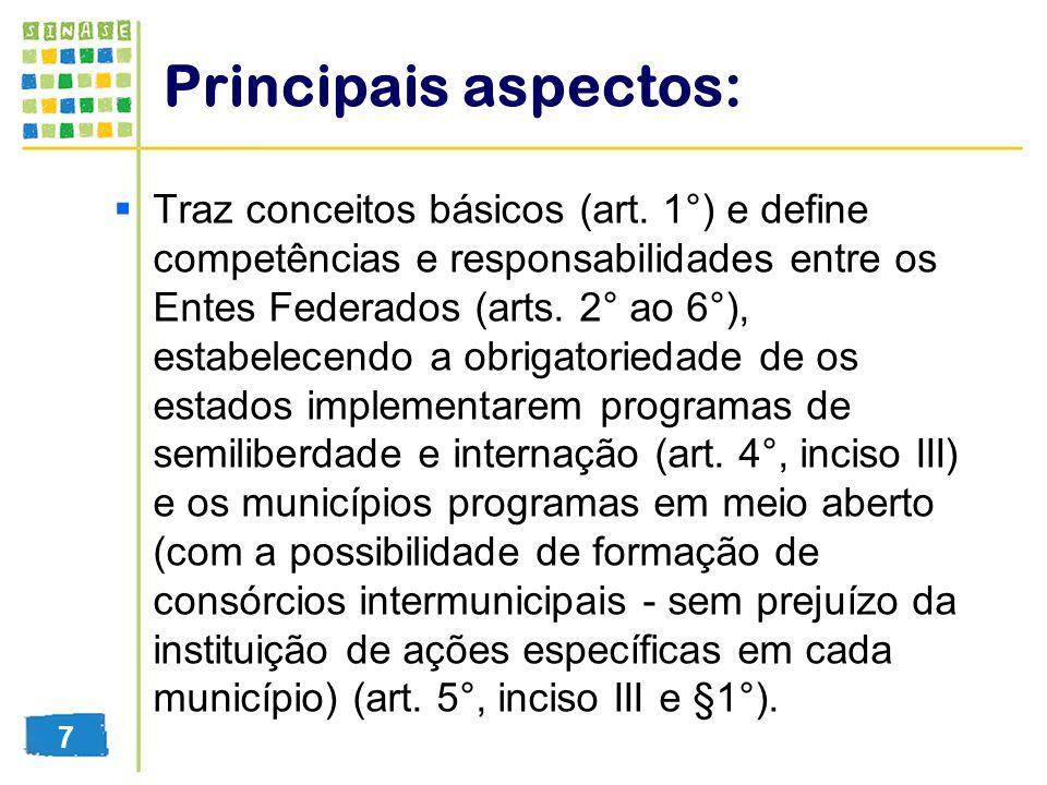 Principais aspectos: Traz conceitos básicos (art. 1°) e define competências e responsabilidades entre os Entes Federados (arts. 2° ao 6°), estabelecen