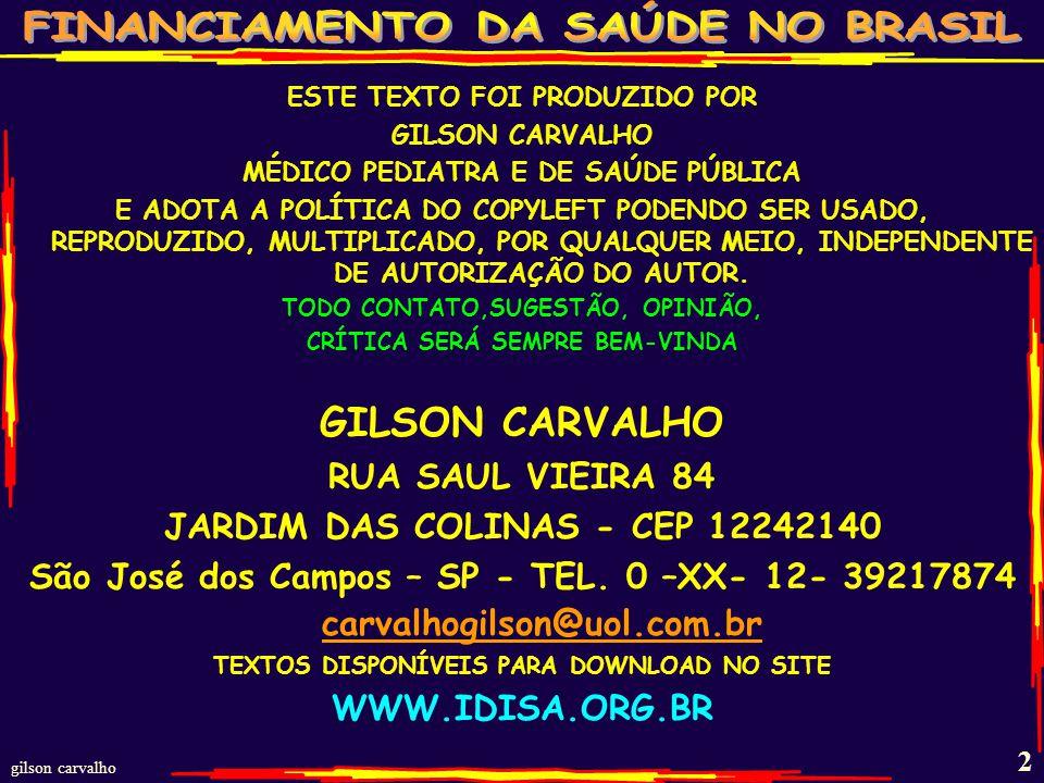 gilson carvalho 1 LC-141 FISCALIZAÇÃO DO FINANCIAMENTO DO SUS