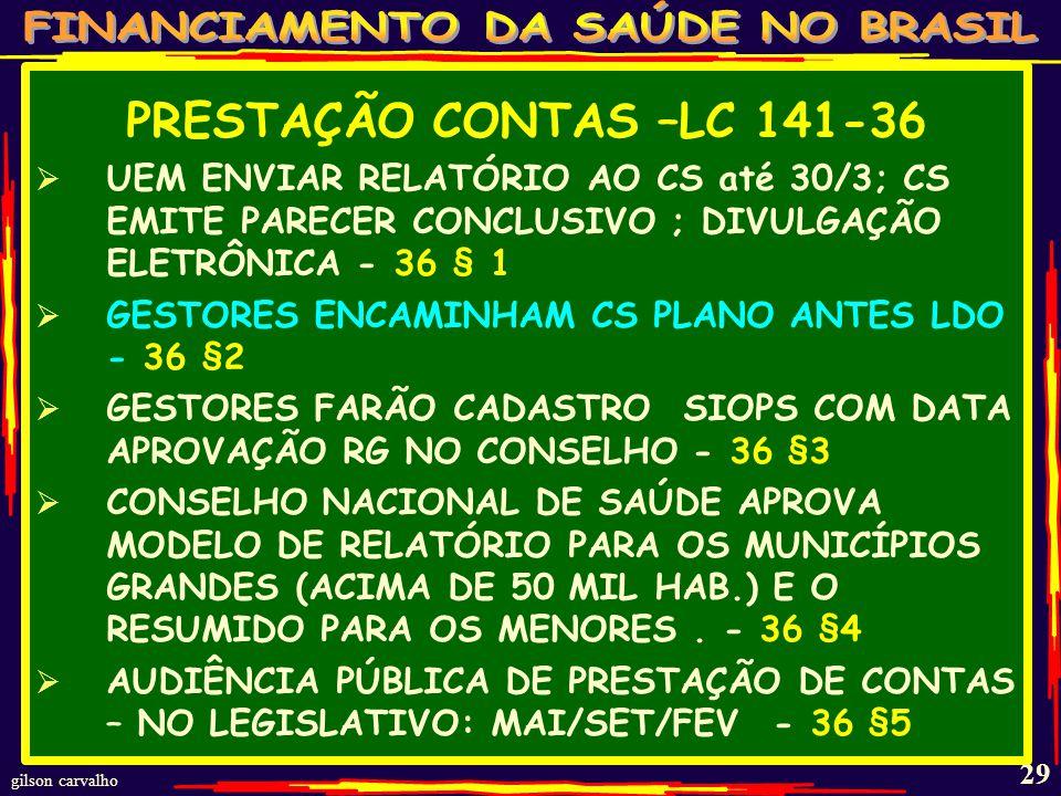 gilson carvalho 28 PRESTAÇÃO CONTAS –LC 141-34-36 DESPESAS DE SAÚDE INTEGRANTES DO RREO PARA SUBSIDIAR PARECER PRÉVIO - 34 (SIOPS) RECEITA E DESPESA COM ASPS DEVEM SER PUBLICADAS NO BALANÇO E RELATÓRIO BIMESTRAL (ATÉ 30 DIAS APÓS BIM.) – 35 * RELATÓRIO QUADRIMESTRAL (MAIO/SET/FEV) MONTANTE E FONTE RECURSOS DO PERÍODO - 36 AUDITORIAS PRONTAS OU A CONCLUIR SUAS RECOMENDAÇÕES E DETERMINAÇÕES; 36 OFERTA E PRODUÇÃO DE ASPS COTEJANDO DADOS COM INDICADORES - 36 COMPROVAÇÃO CUMPRIMENTO 141 - 31 RELATÓRIO GESTÃO– 31;AVALIAÇÃO DO CONSELHO - 31