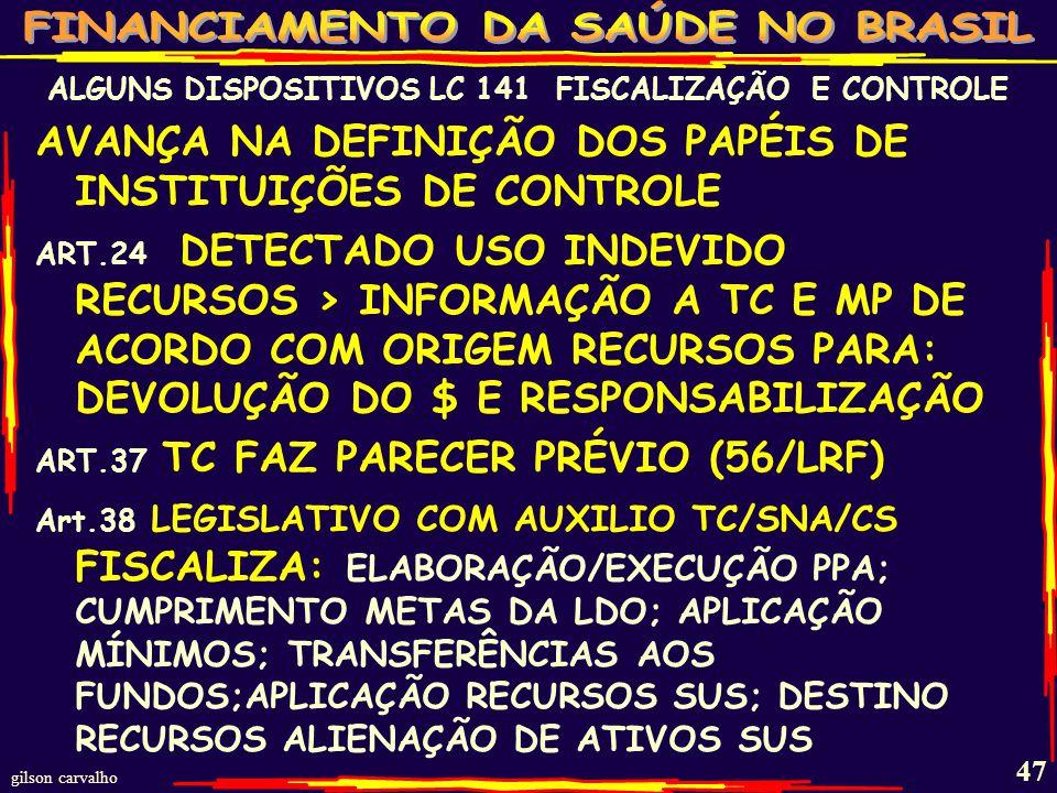 gilson carvalho 46 CONTROLES E FISCALIZADORES DO FINANCIAMENTO DO SUS: AS FUNÇÕES DESTE CONTROLE-FISCALIZADOR ESTÃO DEFINIDOS NO BLOCO DE CONSTITUCIONALIDADE A LC 141 BUSCA APENAS A APLICABILIDADE DESTA LEGISLAÇÃO NA ÁREA DE SAÚDE