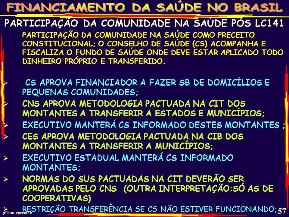 gilson carvalho 56 GESTOR 3 ESFERAS DISPONIBILIZARÁ A CONSELHOS: PROGRAMAÇÃO ANUAL DO PLANO DE SAÚDE PARA APROVAÇÃO ANTES DO ENCAMINHAMENTO DA LDO (LC-141 Art.36 §2) PROGRAMA PERMANENTE DE EDUCAÇÃO NA SAÚDE (PRIORIDADE PARA USUÁRIOS E TRABALHADORES) PARA QUALIFICAR CS NA FORMULAÇÃO DE ESTRATÉGIAS E CONTROLE SOCIAL (LC-141 Art.44) ESCLARECIMENTO SE CS PODE SOFRER PUNIÇÕES SE INFRINGIR A LC 141 OU SÓ OS AGENTES PÚBLICOS.