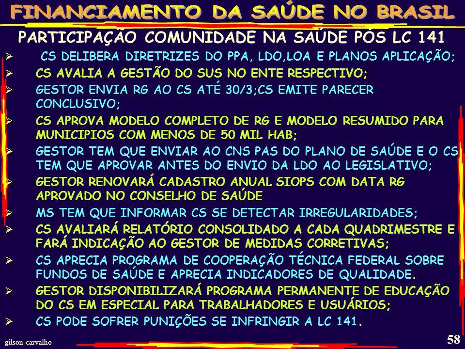 gilson carvalho 57 PARTICIPAÇÃO DA COMUNIDADE NA SAÚDE PÓS LC141 PARTICIPAÇÃO DA COMUNIDADE NA SAÚDE COMO PRECEITO CONSTITUCIONAL; O CONSELHO DE SAÚDE (CS) ACOMPANHA E FISCALIZA O FUNDO DE SAÚDE ONDE DEVE ESTAR APLICADO TODO DINHEIRO PRÓPRIO E TRANSFERIDO.