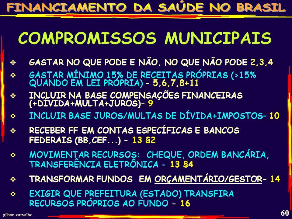 gilson carvalho 59 LEI COMPLEMENTAR 141 DE 13/JAN/2012 REGULAMENTAÇÃ O EC-29 COMPROMISSOS MUNICIPAIS