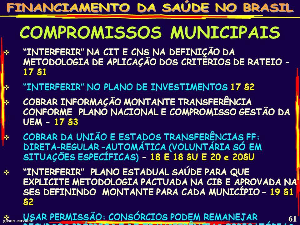 gilson carvalho 60 COMPROMISSOS MUNICIPAIS GASTAR NO QUE PODE E NÃO, NO QUE NÃO PODE 2,3,4 GASTAR MÍNIMO 15% DE RECEITAS PRÓPRIAS (>15% QUANDO EM LEI PRÓPRIA) – 5,6,7,8+11 INCLUIR NA BASE COMPENSAÇÕES FINANCEIRAS (+DÍVIDA+MULTA+JUROS)- 9 INCLUIR BASE JUROS/MULTAS DE DÍVIDA+IMPOSTOS– 10 RECEBER FF EM CONTAS ESPECÍFICAS E BANCOS FEDERAIS (BB,CEF...) - 13 §2 MOVIMENTAR RECURSOS: CHEQUE, ORDEM BANCÁRIA, TRANSFERÊNCIA ELETRÔNICA - 13 §4 TRANSFORMAR FUNDOS EM ORÇAMENTÁRIO/GESTOR- 14 EXIGIR QUE PREFEITURA (ESTADO) TRANSFIRA RECURSOS PRÓPRIOS AO FUNDO - 16