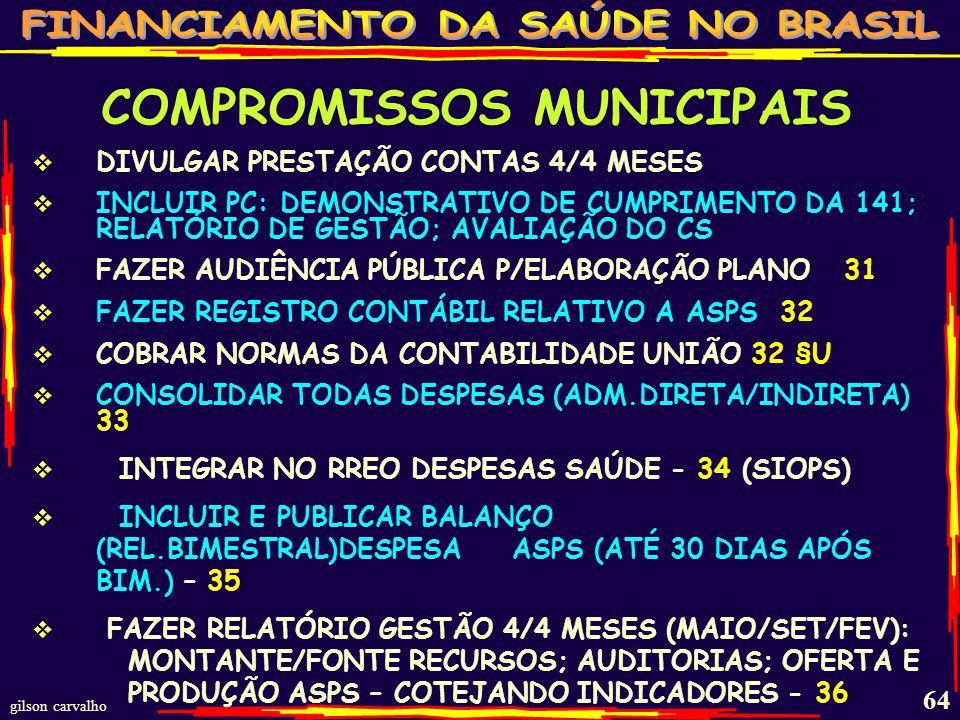 gilson carvalho 63 COMPROMISSOS MUNICIPAIS COBRA DECRETOS FEDERAL E ESTADUAL COM REGRAS PARA SUSPENDER E RETORNAR TRANSFERÊNCIAS - 26, 26§1,2,3,4,5 DEVOLVER AO PRÓPRIO FUNDO, CORRIGIDO, RECURSOS DE TRANSFERÊNCIAS USADOS FORA DAS REGRAS 27 EXIGIR QUE PREFEITURA (ESTADOS) NÃO LIMITEM EMPENHO/MOVIMENTAÇÃO DOS MÍNIMOS -28 CONTAR NA BASE DO MÍNIMO QUALQUER TRANSFERÊNCIA PRÉVIA A FUNDOS (DESENVOLVIMENTO E OUTROS) 29 SEGUIR LC 141 AO FAZER :PPA, LDO, LOA, PLANO APLICAÇÃO, DEVERÃO SEGUIR A 141 - 30 §1 PLANEJAR DE FORMA ASCENDENTE: M/R/E/U COM METAS E ESTIMAR CUSTOS - 30 §1,2,3 CONSELHOS DELIBERAM DIRETRIZES PARA PRIORIDADES-30 §4