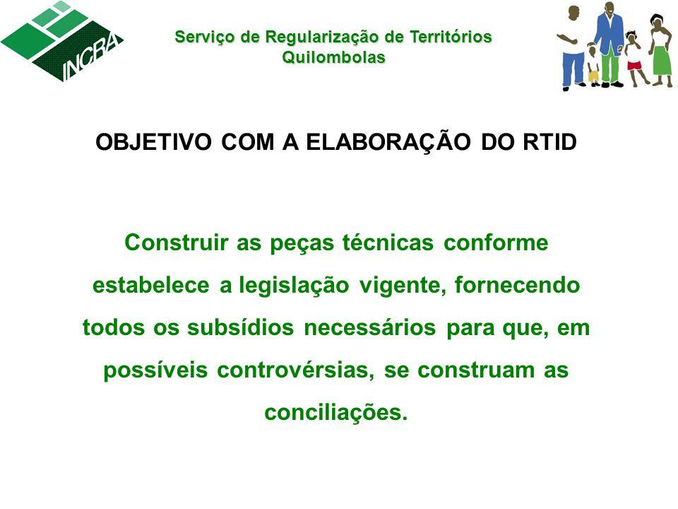 Serviço de Regularização de Territórios Quilombolas OBJETIVO COM A ELABORAÇÃO DO RTID Construir as peças técnicas conforme estabelece a legislação vig
