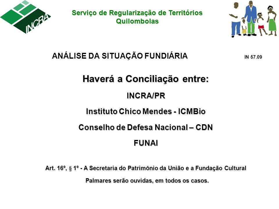 Serviço de Regularização de Territórios Quilombolas ANÁLISE DA SITUAÇÃO FUNDIÁRIA IN 57.09 Haverá a Conciliação entre: INCRA/PR Instituto Chico Mendes