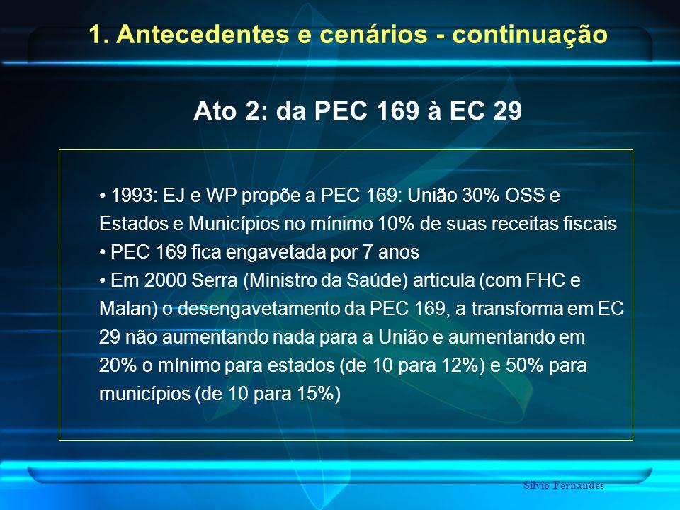 1993: EJ e WP propõe a PEC 169: União 30% OSS e Estados e Municípios no mínimo 10% de suas receitas fiscais PEC 169 fica engavetada por 7 anos Em 2000 Serra (Ministro da Saúde) articula (com FHC e Malan) o desengavetamento da PEC 169, a transforma em EC 29 não aumentando nada para a União e aumentando em 20% o mínimo para estados (de 10 para 12%) e 50% para municípios (de 10 para 15%) Ato 2: da PEC 169 à EC 29 Silvio Fernandes 1.