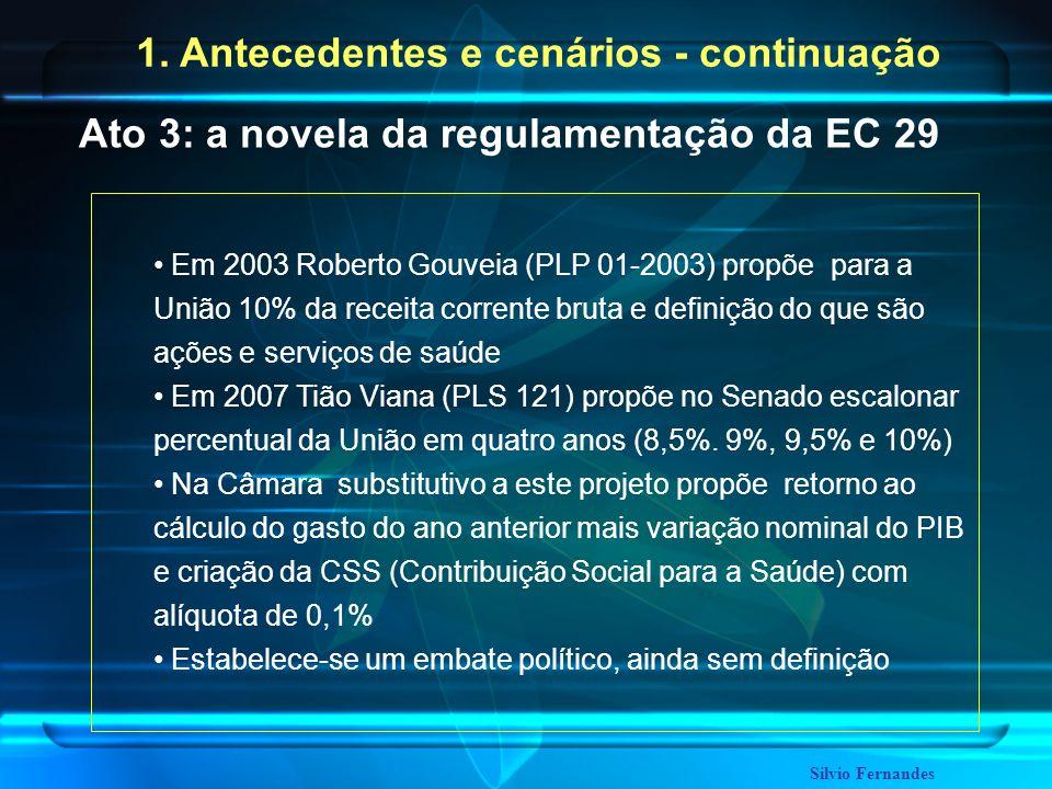 Em 2003 Roberto Gouveia (PLP 01-2003) propõe para a União 10% da receita corrente bruta e definição do que são ações e serviços de saúde Em 2007 Tião Viana (PLS 121) propõe no Senado escalonar percentual da União em quatro anos (8,5%.