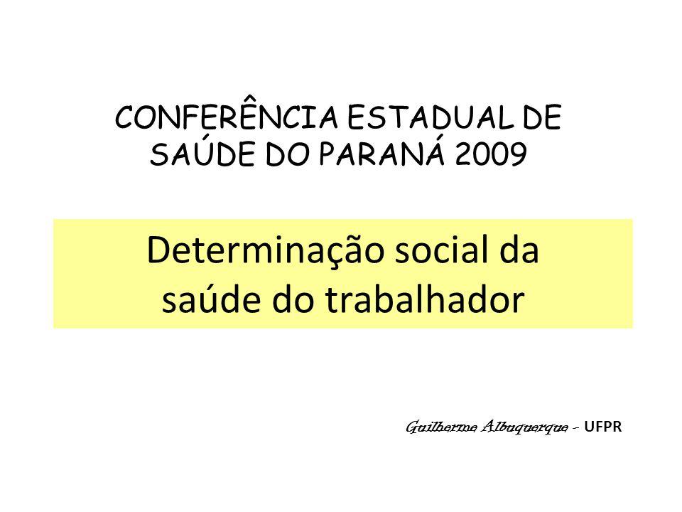 Determinação social da saúde do trabalhador Guilherme Albuquerque - UFPR CONFERÊNCIA ESTADUAL DE SAÚDE DO PARANÁ 2009