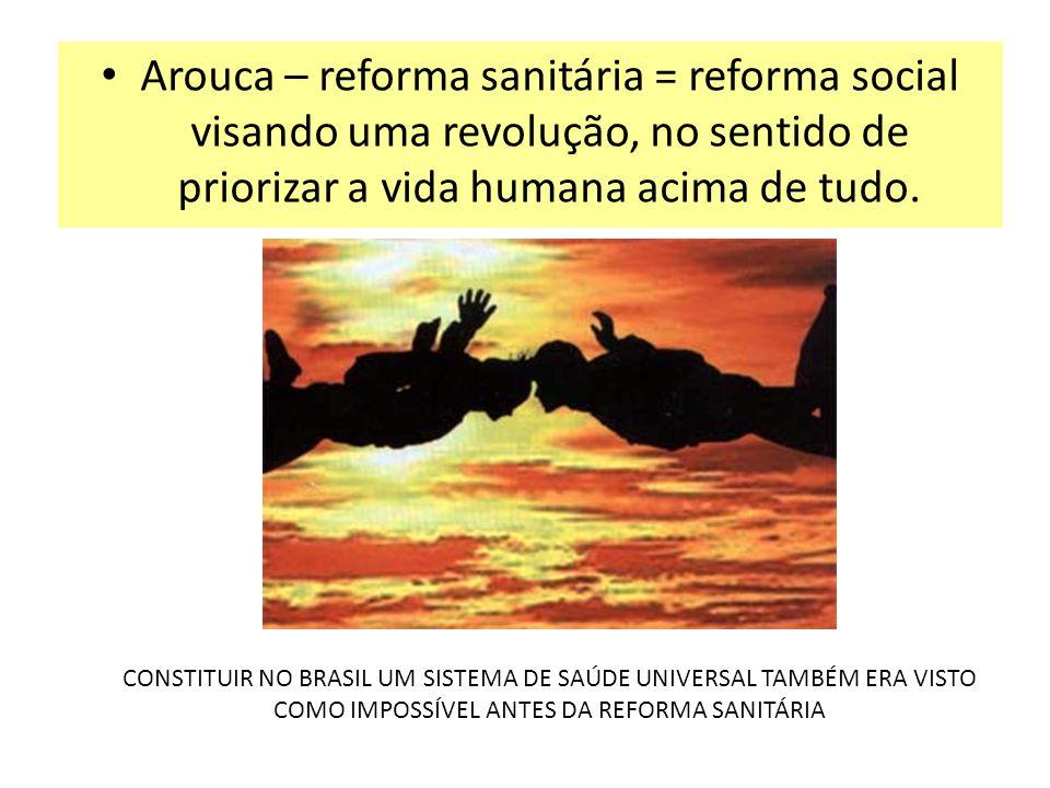 Arouca – reforma sanitária = reforma social visando uma revolução, no sentido de priorizar a vida humana acima de tudo. CONSTITUIR NO BRASIL UM SISTEM
