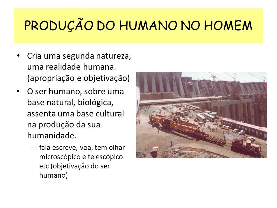 PRODUÇÃO DO HUMANO NO HOMEM Cria uma segunda natureza, uma realidade humana. (apropriação e objetivação) O ser humano, sobre uma base natural, biológi