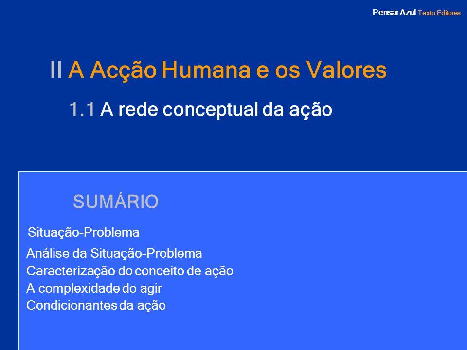 Pensar Azul Texto Editores SUMÁRIO Situação-Problema Análise da Situação-Problema Caracterização do conceito de ação A complexidade do agir Condiciona