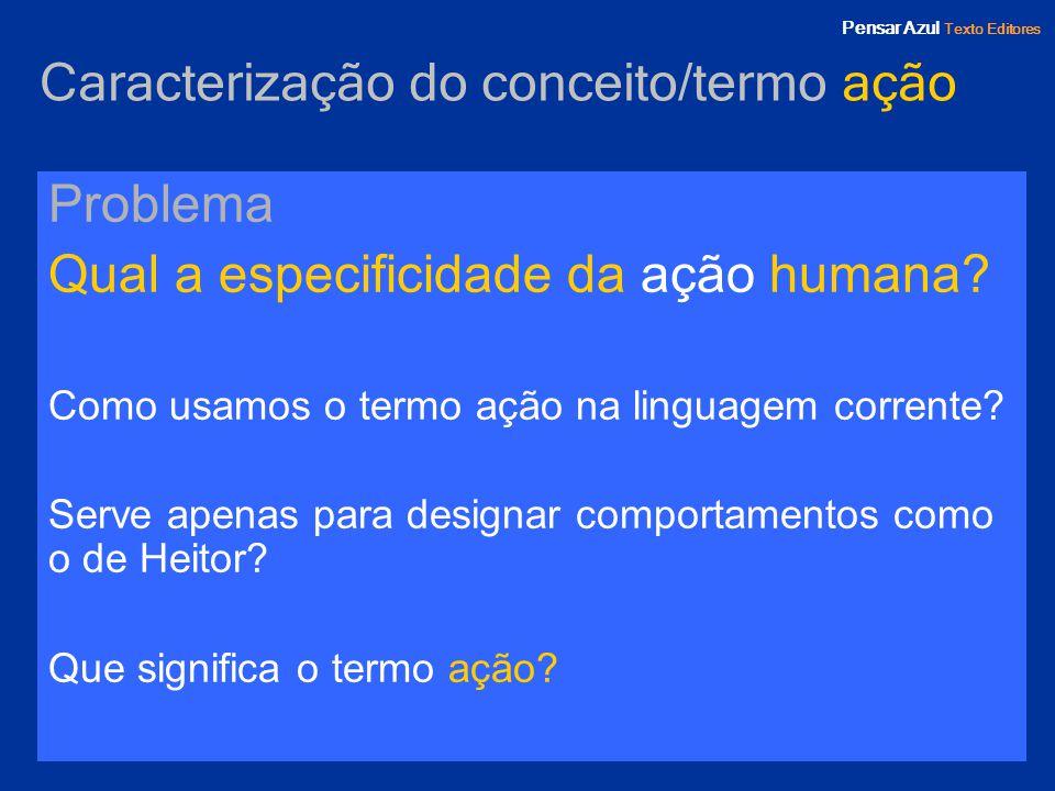 Pensar Azul Texto Editores Caracterização do conceito/termo ação Problema Qual a especificidade da ação humana? Como usamos o termo ação na linguagem