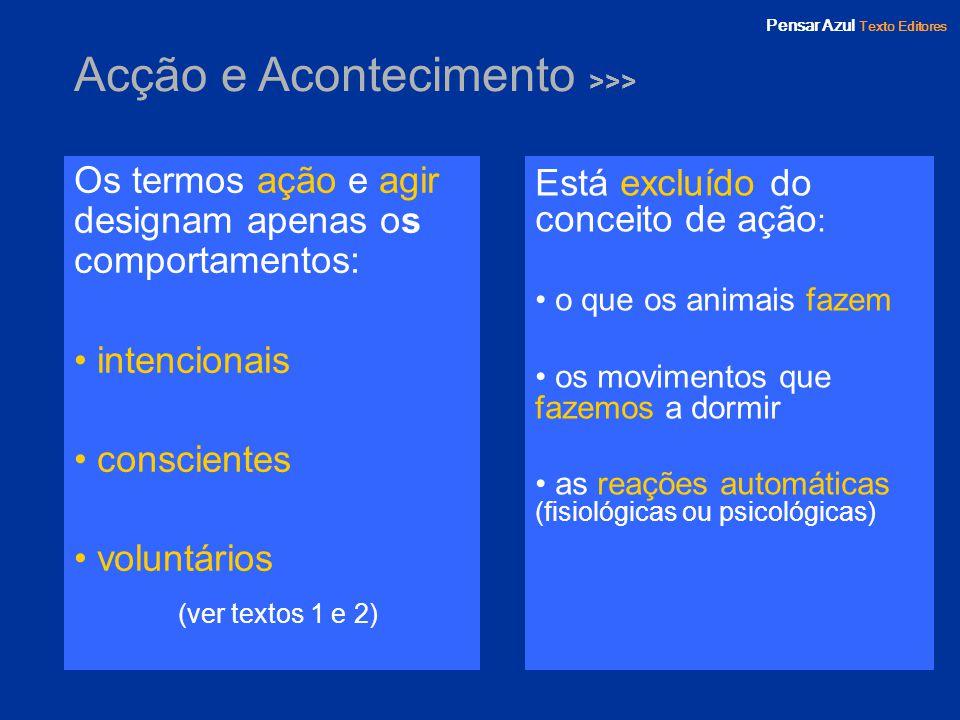 Pensar Azul Texto Editores Acção e Acontecimento >>> Os termos ação e agir designam apenas os comportamentos: intencionais conscientes voluntários (ve