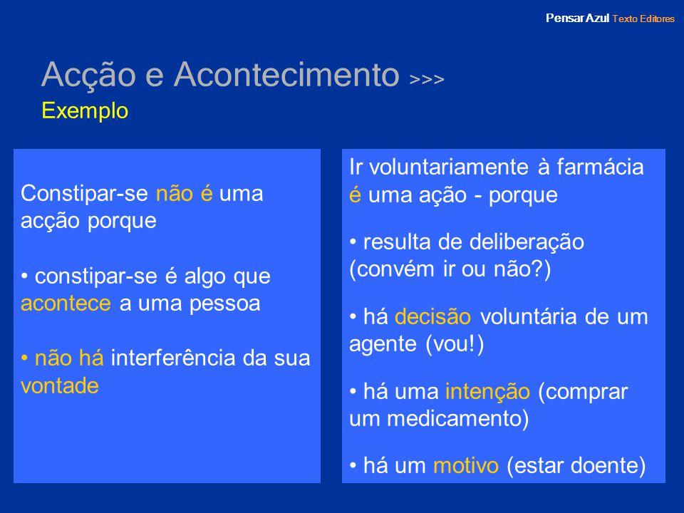 Pensar Azul Texto Editores Acção e Acontecimento >>> Exemplo Constipar-se não é uma acção porque constipar-se é algo que acontece a uma pessoa não há