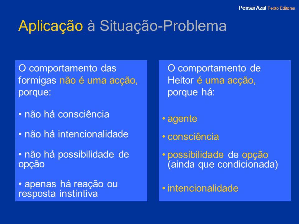 Pensar Azul Texto Editores Aplicação à Situação-Problema O comportamento das formigas não é uma acção, porque: não há consciência não há intencionalid