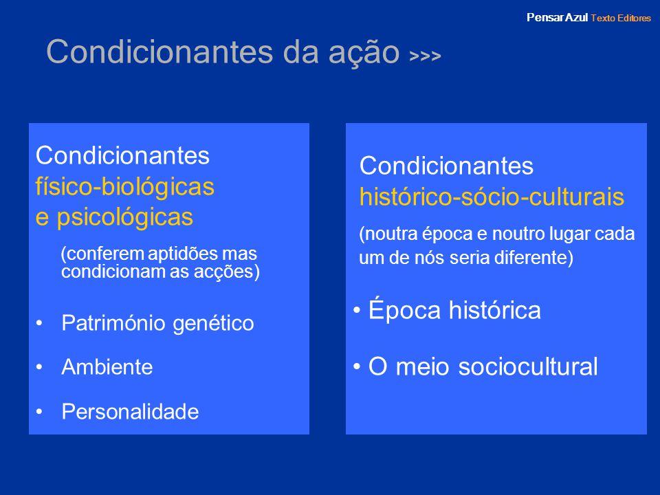 Pensar Azul Texto Editores Condicionantes da ação >>> Condicionantes físico-biológicas e psicológicas (conferem aptidões mas condicionam as acções) Pa