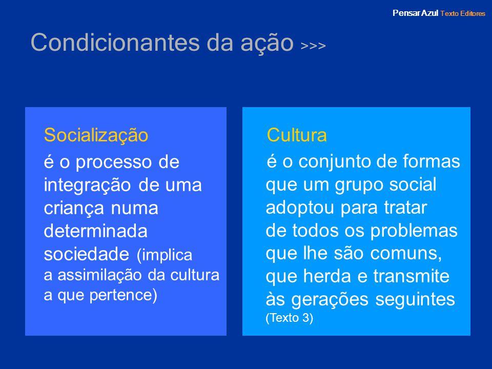 Pensar Azul Texto Editores Condicionantes da ação >>> Socialização é o processo de integração de uma criança numa determinada sociedade (implica a ass